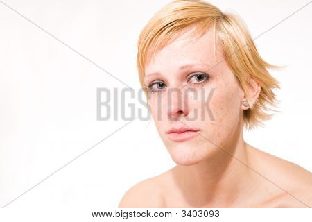 Blond Girl With Short Hair Who Is Feeling Sad