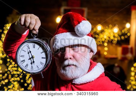 Santa Celebrate Christmas. New Year Party. New Year Clock. Merry Christmas And Happy New Year. Chris