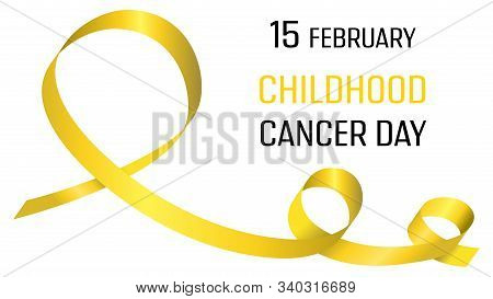 International Childhood Cancer Day. Poster With Yellow Ribbon. Medical Banner. International Health