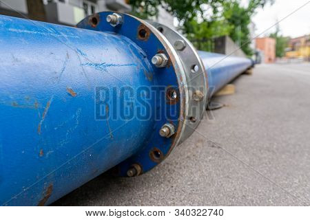 Construction Of A New Energy Pipeline Of Oil Or Gas Pipeline, Pipes At A Construction Site To Be Use
