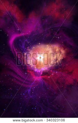 Nebula 3d Illustration - Complex Purple And Red Molecular Clouds Surround A Huge Brilliant Star Nebu