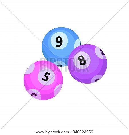 Balls With Lotto Bingo Numbers, Lottery Numbered Balls For Keno Game, Icon Flat Style. Isolated On A