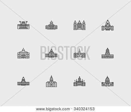 Us Capitols Icons Set. Connecticut State Capitol And Us Capitols Icons With Delaware State Capitol,