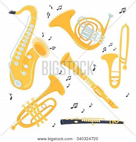 Musical Brass Instruments Collection. Jazz Gold Objects. Trumpet And Saxophone, Trombone And Flute,