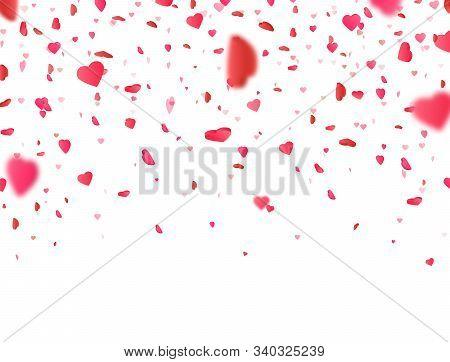 Valentines Day Background With 3d Pink Heart Falling On White Background. Heart Confetti Border. Flo