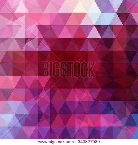 Abstract Background Consisting Of Red, Pink, Purple Triangles. Geometric Design For Business Present