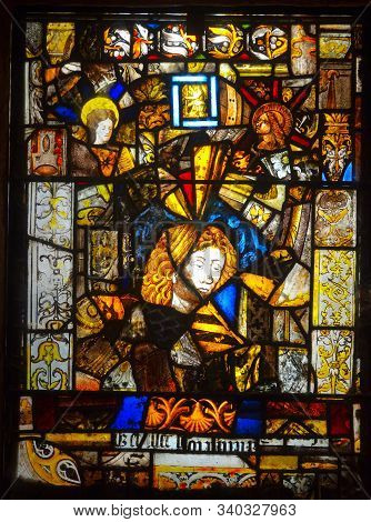 Fontfroide, Languedoc - Roussillon, France - September 12, 2013: Stain Glass Window Made Of Pieces O