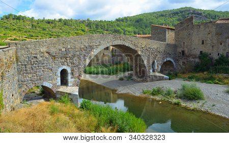 Historic Medieval Bridge At Lagrasse Languedoc France