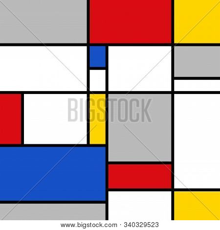 Artistic Mondrian Style Color Composition With Red, Blue, Yellow, Grey And White Polygons.