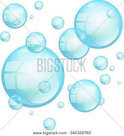 Turquoise Floating Soap Bubbles Isolated On A White Background.