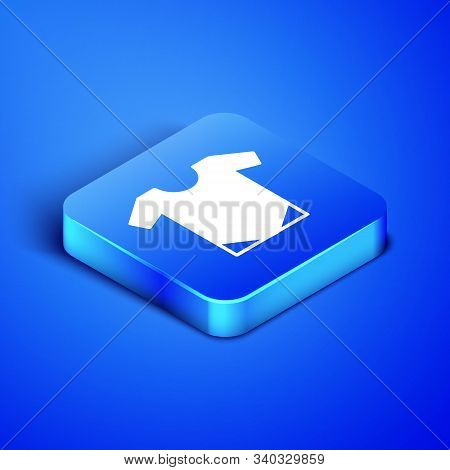 Isometric Baby Onesie Icon Isolated On Blue Background. Baby Clothes Symbol. Kid Wear Sign. Blue Squ