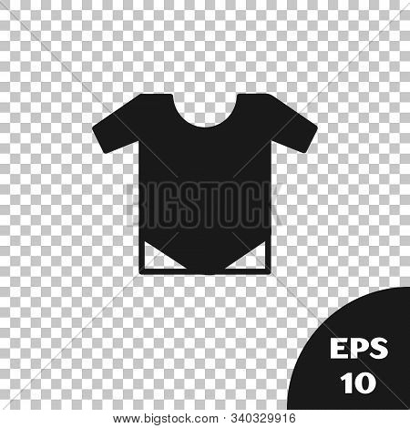 Black Baby Onesie Icon Isolated On Transparent Background. Baby Clothes Symbol. Kid Wear Sign. Vecto