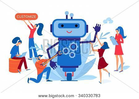 Team Of Developers Working On A Chatbot, Customized Chat Bot Development Landing Page, Flat Style Ve