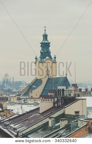 Aerial View Of The Archcathedral Basilica Of The Assumption Of The Blessed Virgin Mary In Lviv, Ukra
