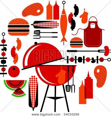 BBQ party icons