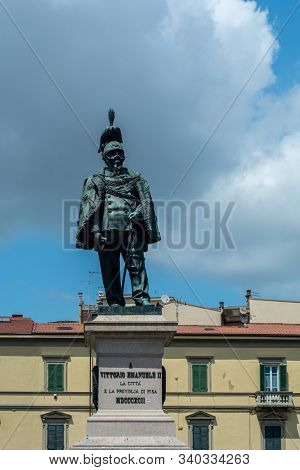 Pisa, Italy - June 6, 2019 : statue of Vittorio Emanuele II on the Piazza Vittorio Emanuele II. Vittorio Emanuele II was the King of Italy from 29 July 1900 until his abdication on 9 May 1946.