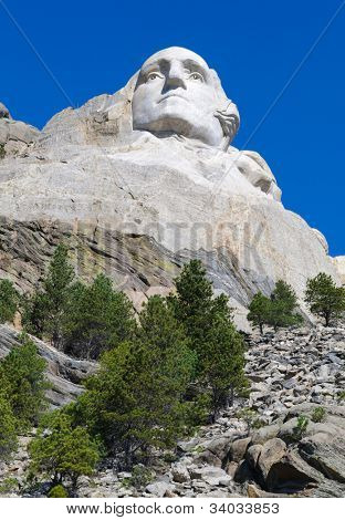 George Washington face on Mount Rushmore National Memorial