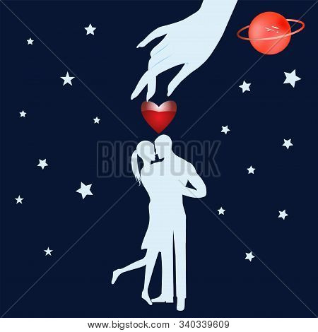 Hand Of Fate, A Pair Of Lovers - Starry Sky - Art, Illustration, Vector. Magic. Occultism. Philosoph