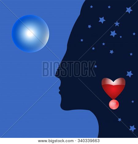 Woman - A Fortuneteller, Psychic, Magician - Blue Ball - Art, Illustration, Vector. Magic. Occultism
