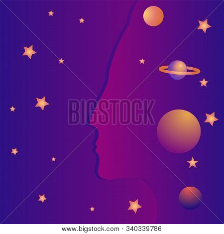 Woman Image - Star Galaxy - Art, Illustration, Vector. Magic. Occultism. Philosophy. Witchcraft. Far