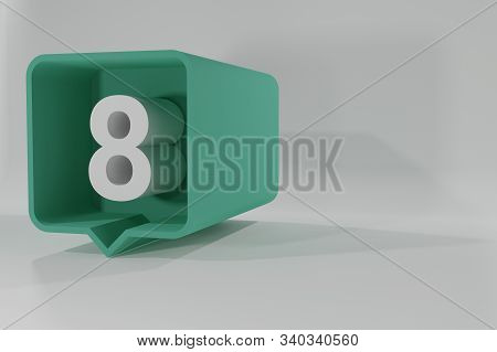 8 Number Balloon Icon. Speech Balloon 3d. Number Eight. 3d Illustration. 3d Buttons With Numbers. Th