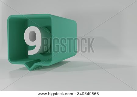 9 Number Balloon Icon. Speech Balloon 3d. Number Nine. 3d Illustration. 3d Buttons With Numbers. Thr