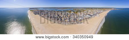Hampton Beach Panorama Aerial View Including Historic Waterfront Buildings On Ocean Boulevard And Ha