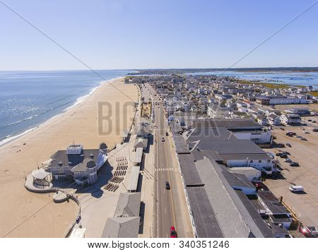 Hampton Beach Aerial View Including Historic Waterfront Buildings On Ocean Boulevard And Hampton Bea