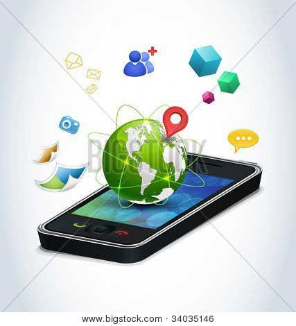 Smart phone technologies. Concept of modern mobile phones and their funcionality. Finding friend, gps navigation, multimedia sharing, global communication