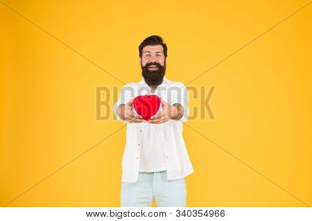 Love You. Being Honest. Romantic Guy With Red Heart Toy. Romance Concept. Celebrate Valentines Day.