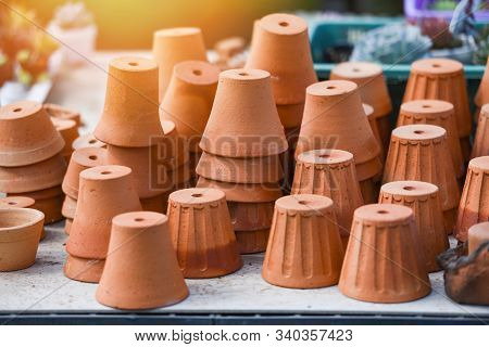 Flowerpot In The Nursery Plant Tree / Terracotta Clay Pots For Garden Plants And Flowers Decorative