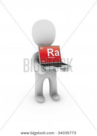 Radium Symbol On Screen Laptop
