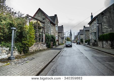 Breinig-stolberg, Germany - Sept. 08, 2019: Village View On Street With Traditional Houses And Black