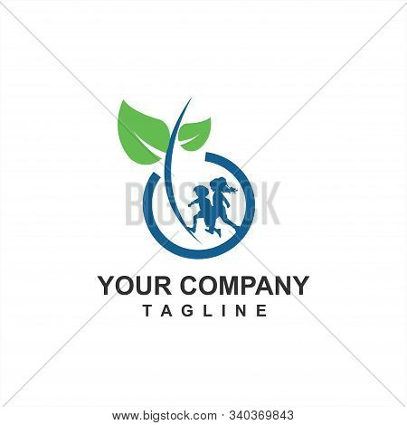 Organic Food And Farm For Children Health And Next Generation Logo And Icon