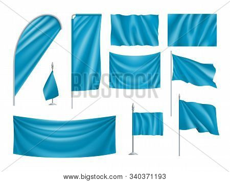 Blue Rectangular Flags Set Isolated On White Background. Realistic Wavy Flag On Pole, Expo Banner, D