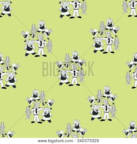 Vector Chartreuse Green Playful Bunch Of Black And White Anthropomorphic Characters Seamless Pattern