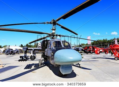 Moscow Region - June 17:  Russian Multirole Helicopter With Combat Weapons At The International Mili