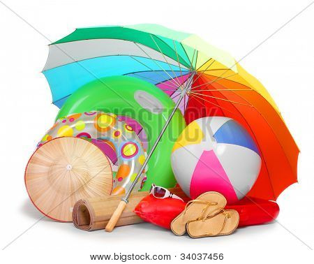 UV protection equipment, beach umbrella and floating water toys on a white background.