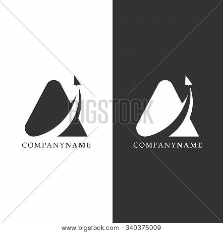 Simple Letter A Logo With Paper Airplane And Negative Space Design Vector. Lettermark Traveling Logo