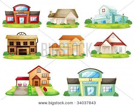 Abbildung von Häusern und anderen Gebäuden