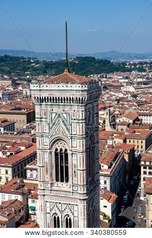 White Marble Bell Tower In Florence Italy