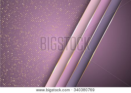 Gold Halftone Dots And Inclined Ribbon Stripes Banner Vector Design. Premium Banner Background Templ