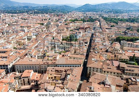 Hazy View Of Roofs And Streets In Florence