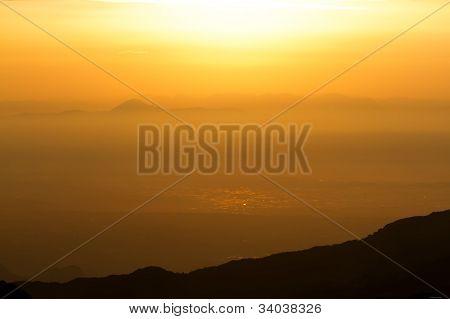Looks Like The Sunrise In The Mountains Above Antalya, Turkey