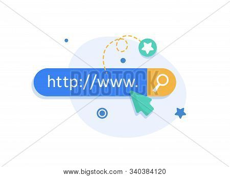 Www Icon. Web Site Icon. Www Icon With Hand Cursor In Flat Style,flat Design Icon Vector Illustratio