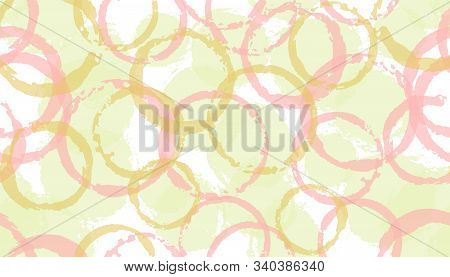 Creative Painted Circle Stamps Textile Print. Round Shape Splotch Overlapping Elements Vector Seamle