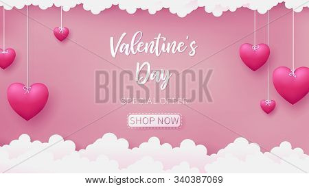 Valentines Of Paper Craft Design, Contain Pink Hearts Are Holding By Sting On Top, Soft Pink Backgro