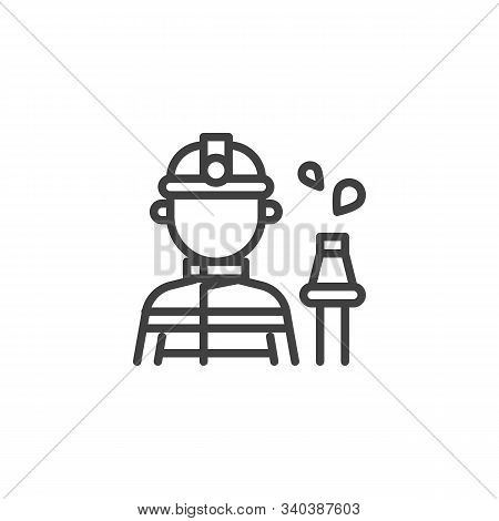 Fireman With A Fire Hose Line Icon. Linear Style Sign For Mobile Concept And Web Design. Firefighter