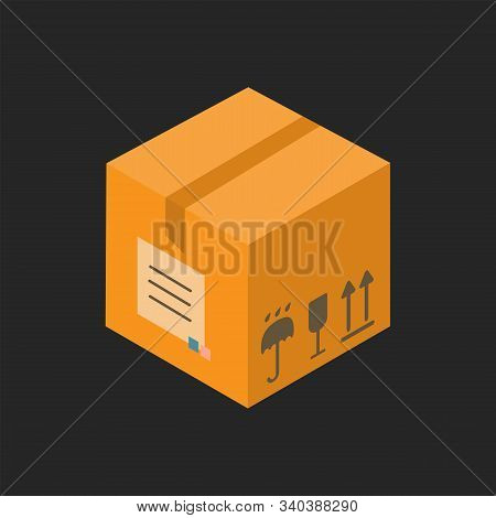 Carton Delivery Packaging Closed Box With Fragile Signs. Vector Isometric Illustration Isolated On W