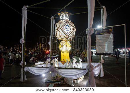 Phayao, Thailand - November 10, 2019: Big One White Lanterns Made From Paper In Loi Krathong Festiva